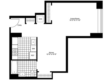 Spacious studio unit with separate sleeping alcove on the 5th floor with 10 ft. ceilings.  Unit is just over 660 sq. ft. facing northern exposure.