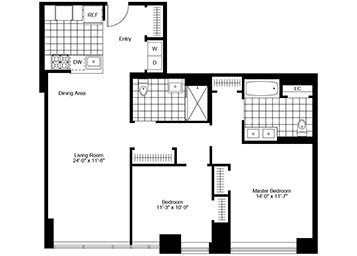 2 Bed, 2 Bath Luxury Apartment Floor Plan