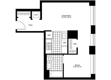 Studio unit on the 8th floor with separate sleeping alcove facing eastern exposure.