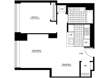 One bedroom unit on the 10th floor with open kitchen and separate dining area.