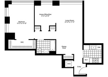1.5 Bed, 1 Bath, Corner Luxury Apartment Floor Plan