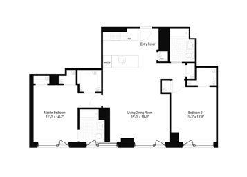 Split 2 Bedroom/2 Bathroom apartment featuring a western exposure with incredible city views from floor-to-ceiling windows. the apartment includes over-sized walk-in closets, an open kitchen and an in-home washer and dryer.*All prices reflect two months free, valid for new residents only. Contact our leasing department today to learn more.*