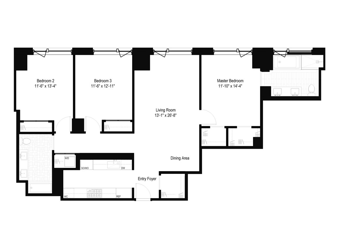3 Bedrooms, 2 Baths Luxury Apartment Floor Plan
