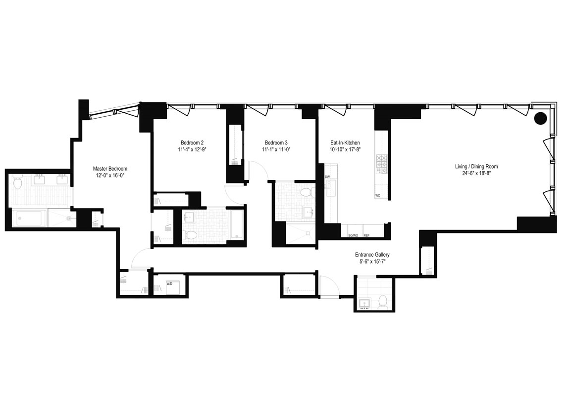 3 Bedrooms, 3.5 Baths Luxury Apartment Floor Plan