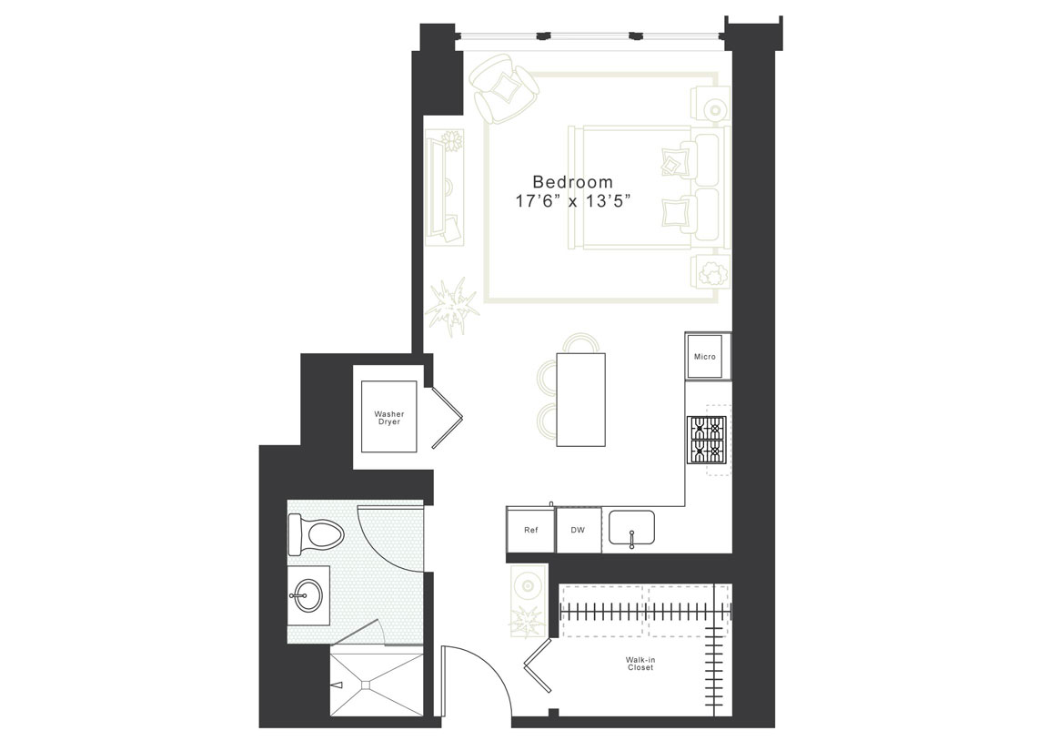 Studio, 1 Bath Luxury Apartment Floor Plan