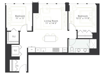 2 Bedroom, 1 Bath Luxury Apartment Floor Plan