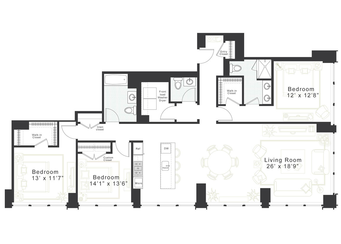 3 Bedroom, 2.5 Bath Luxury Apartment Floor Plan