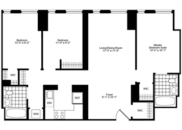 3 Bedroom, 2 Bath Luxury Apartment Floor Plan