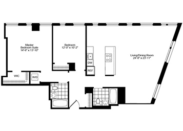 Spacious 2 Bedroom, 2 Bathroom corner unit apartment featuring western exposure. Apartment features an open pass-thru kitchen, walk-in closet in master bedroom suite, and an in-home washer and dryer.