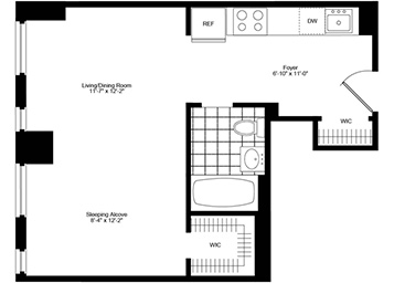 Studio apartment with northern exposure, walk-in closet and floor-to-ceiling windows. Unit also features hardwood floors and stainless steel appliances.