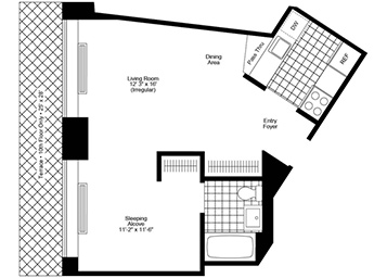 oversized alcove studio featuring plank wood floors, stainless steel appliances, great natural light, pass through kitchen, and spacious closets.
