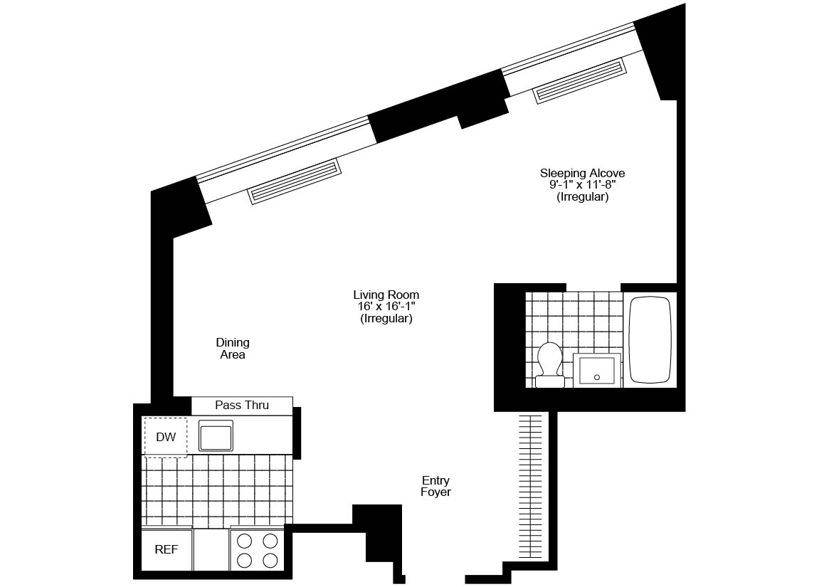 Alcove Studio, 1 Bath Luxury Apartment Floor Plan