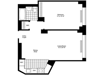 1 Bedroom, 1 Bathroom apartment featuring southern and western exposure, brand new plank wood floors, stainless steel appliances, great closets, and an open floor- plan