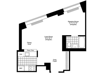 Spacious, high-floor alcove studio with great views, west exposure, and pass-thru kitchen with stainless steel appliances