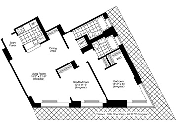 1.5 Bedroom, 2 Bath, Corner Luxury Apartment Floor Plan