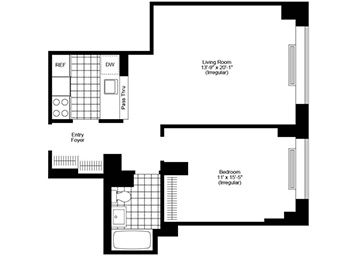 Penthouse 1 bedroom/ 1 bathroom apartment featuring stunning southern exposure with unobstructed views of the lower Manhattan Skyline, plank wood floors, solar shades and black out shades, a pass through kitchen, stainless steel appliances, and customizable closets.