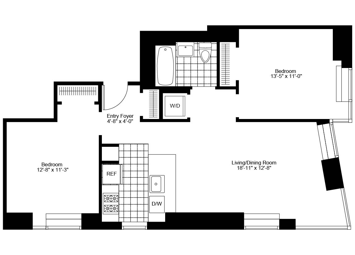 2 Bedroom, 1 Bath, Corner Luxury Apartment Floor Plan