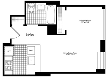 Alcove Studio apartment with eastern exposure, a pass-through kitchen, good closets and a lot of light.