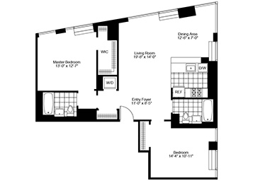 2.5 Bedroom, 2 Bath, Corner Luxury Apartment Floor Plan