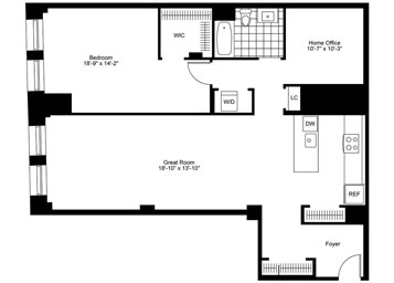 Large one bedroom unit over 1400 sq. ft. on the third floor with separate den/home office facing western exposure.