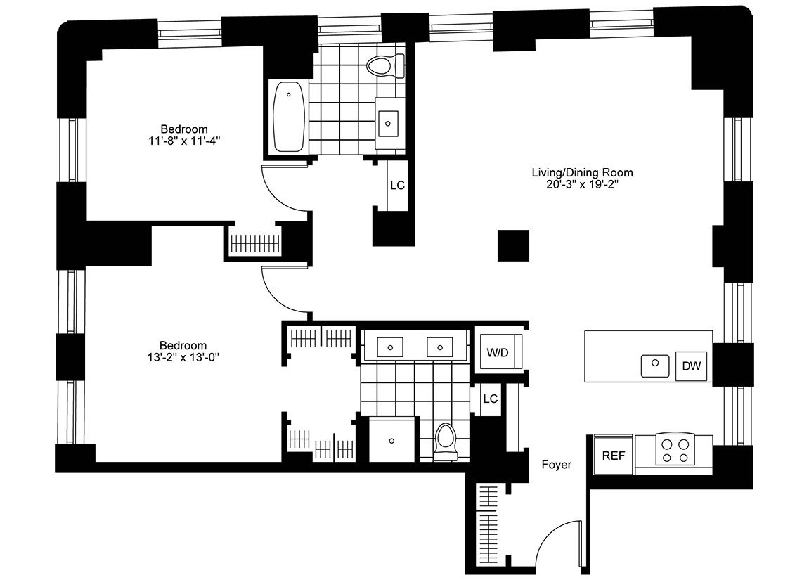 2 Bedrooms, 2 Bath Luxury Apartment Floor Plan