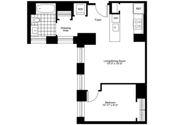 One bedroom one bath unit on the 12th floor with open kitchen facing western exposure.