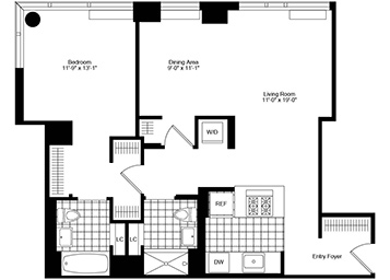 Lovely corner large one bedroom facing north/west with floor to ceiling windows, great closets, two full bathrooms, open kitchen, and in home washer and dryer.