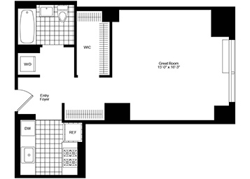 Large Studio apartment featuring southern expsoure, a walk-in closet, and an in-home washer and dryer.
