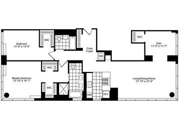 2.5 Bedroom, 2 Bath Luxury Apartment Floor Plan