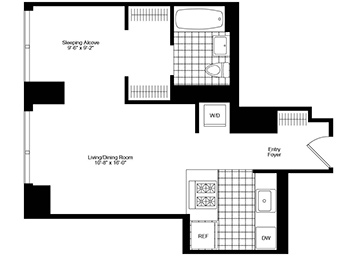 Alcove studio apartment floor featuring northern exposure with great views, an open layout with a pass-through kitchen, floor-to-ceiling windows, and an in-home washer and dryer.