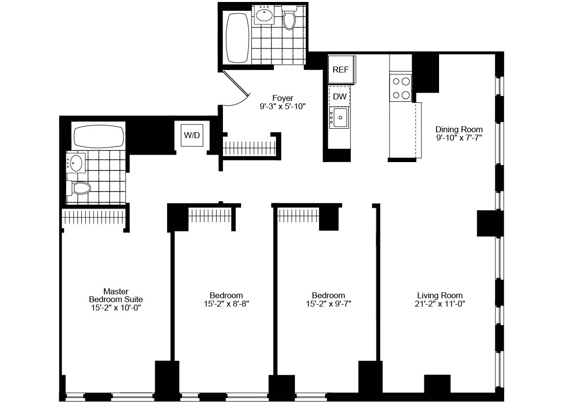 nyc apartments tribeca 3 bedrooms apartment for rent murray street floorplan